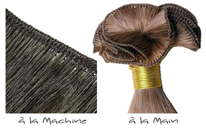 Trame de tissage réalisée à la machine (à gauche) et à la main (à droite)
