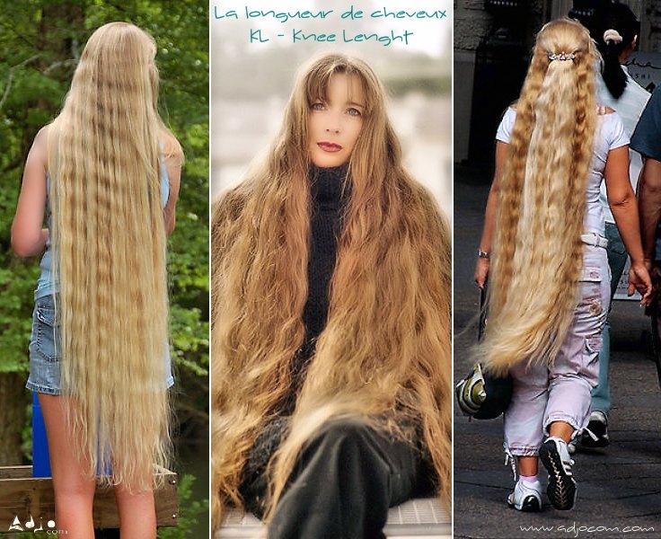 Les cheveux longs KL (Knee Lenght) arrivent jusqu'aux genoux